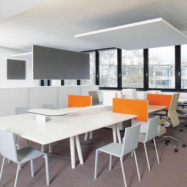 Suspended acoustic panels white orange